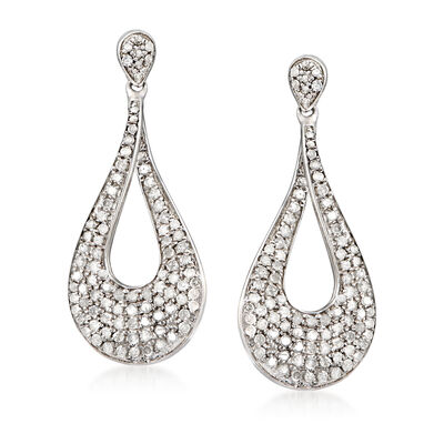 1.00 ct. t.w. Pave Diamond Drop Earrings in Sterling Silver, , default