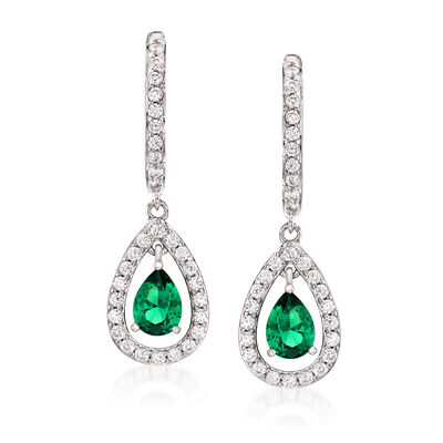 Simulated Emerald and .80 ct. t.w. CZ Drop Earrings in Sterling Silver, , default