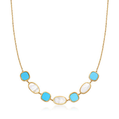Italian Mother-Of-Pearl and Turquoise Necklace in 14kt Yellow Gold, , default