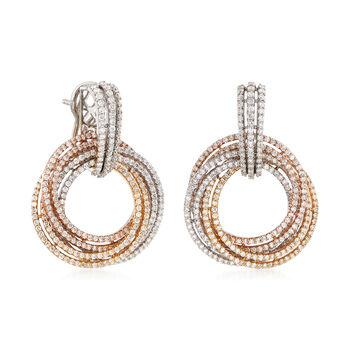 6.85 ct. t.w. Diamond Swirl Earrings in 14kt Tri-Colored Gold, , default