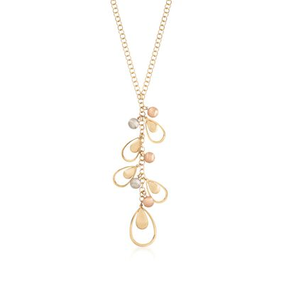 14kt Tri-Colored Gold Necklace with Teardrop Dangles, , default