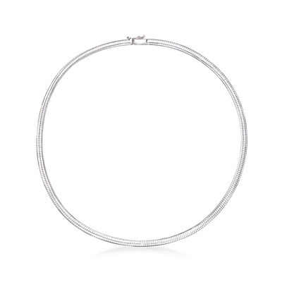 Italian 4mm 14kt White Gold Omega Necklace, , default