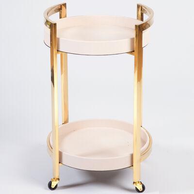 Blush Pink and Gold Round Bar Cart, , default