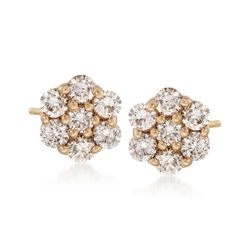 1.00 ct. t.w. Diamond Flower Stud Earrings in 14kt Yellow Gold, , default