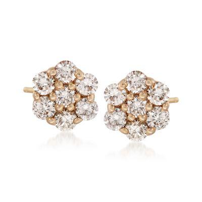 1.00 ct. t.w. Diamond Flower Stud Earrings in 14kt Yellow Gold, , default