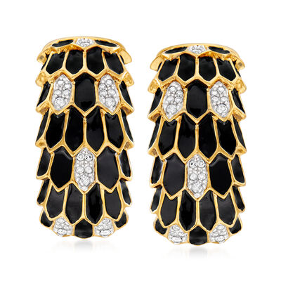 .25 ct. t.w. Diamond and Black Enamel Layered Earrings in 18kt Gold Over Sterling, , default
