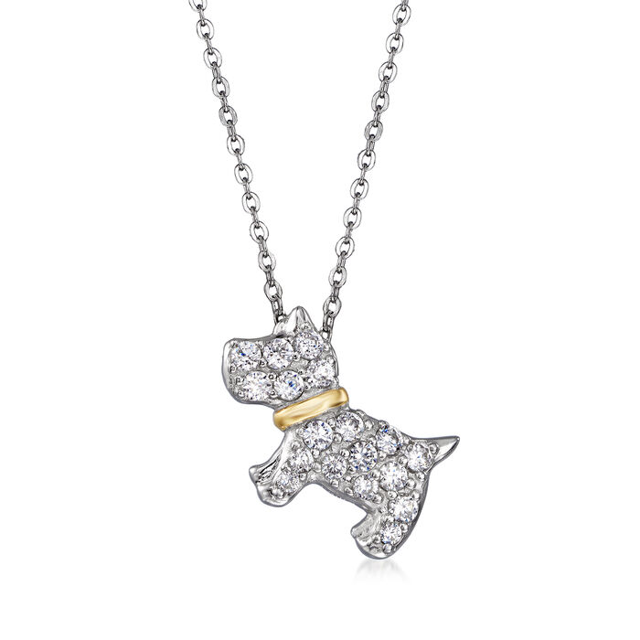 """.49 ct. t.w. CZ Dog Pendant in Sterling Silver with 18kt Gold Over Sterling. 18"""""""