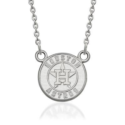 "Sterling Silver MLB Houston Astros Pendant Necklace. 18"", , default"