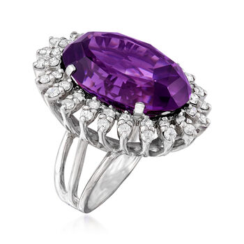 C. 1950 Vintage 25.15 Carat Amethyst and 1.55 ct. t.w. Diamond Ring in 14kt White Gold. Size 6, , default
