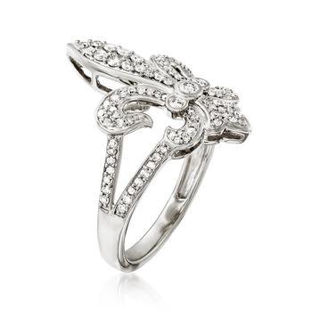 .50 ct. t.w. Diamond Fleur-De-Lis Ring in Sterling Silver, , default