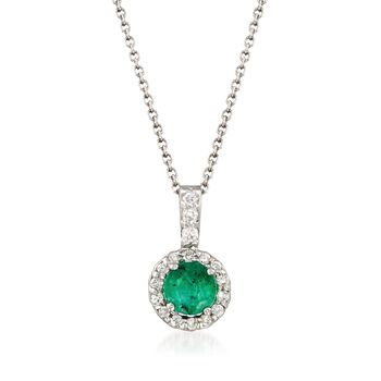 """.40 Carat Emerald and .10 ct. t.w. Diamond Pendant Necklace in 14kt White Gold. 16"""", , default"""