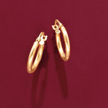 "Italian 2mm 18kt Yellow Gold Petite Hoop Earrings. 5/8"", , default"