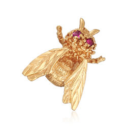 C. 1990 Vintage 14kt Yellow Gold Bee Pin With .12 ct. t.w. Ruby Eyes , , default