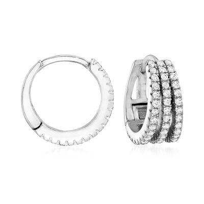 .50 ct. t.w. CZ Multi-Row Hoop Earrings in Sterling Silver, , default