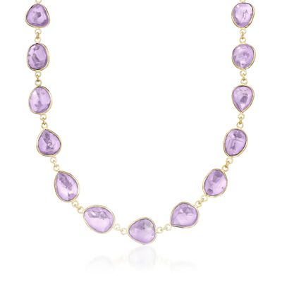60.00 ct. t.w. Amethyst Necklace in 14kt Gold Over Sterling Silver
