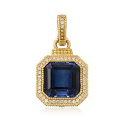 Judith Ripka 10.00 Carat Synthetic Sapphire and .26 ct. t.w. Diamond Pendant in 18kt Yellow Gold, , default