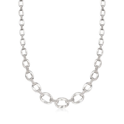 Sterling Silver Graduated Oval-Link Necklace