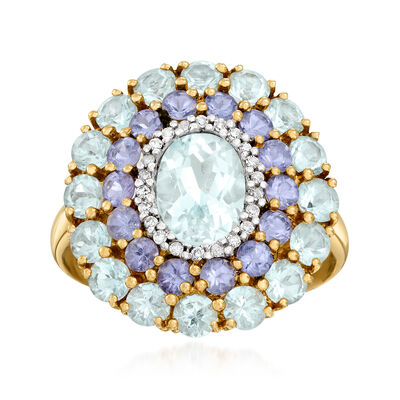 C. 2000 Vintage 3.80 ct. t.w. Aquamarine, 1.00 ct. t.w. Tanzanite and .11 ct. t.w. Diamond Cocktail Ring in 14kt Yellow Gold, , default