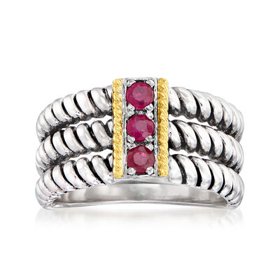 .30 ct. t.w. Ruby Three-Stone Ring in Sterling Silver with 14kt Yellow Gold