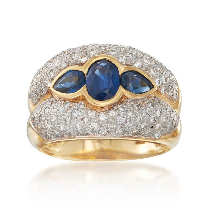 C. 1980 Vintage 1.70 ct. t.w. Sapphire and 1.00 ct. t.w. Diamond Ring in 18kt Yellow Gold. Size 7