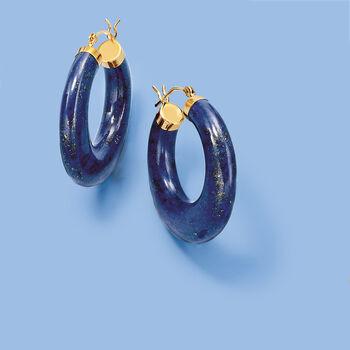 "Lapis Hoop Earrings 14kt Yellow Gold. 1 1/8"""