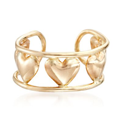 14kt Yellow Gold Heart Pattern Single Ear Cuff, , default
