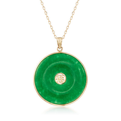 "Green Jade ""Good Luck"" Pendant Necklace in 14kt Yellow Gold, , default"