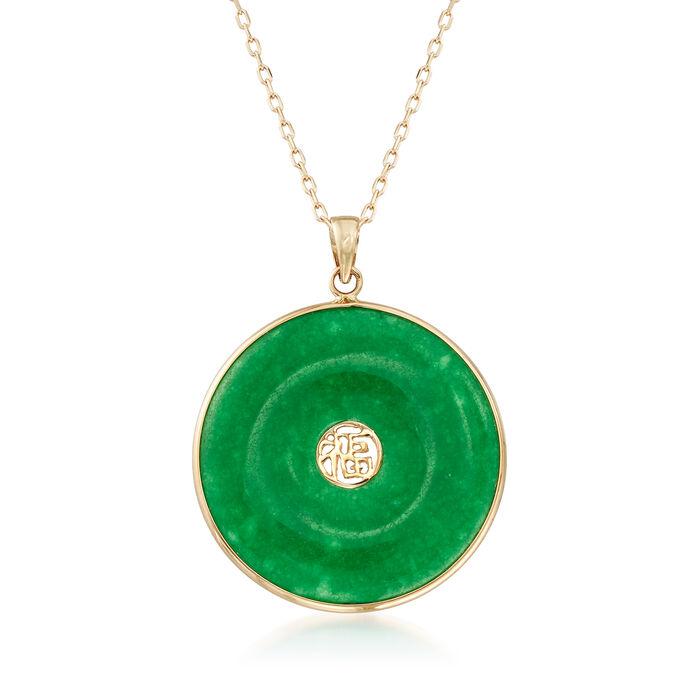 "Green Jade ""Good Luck"" Pendant Necklace in 14kt Yellow Gold, , default"