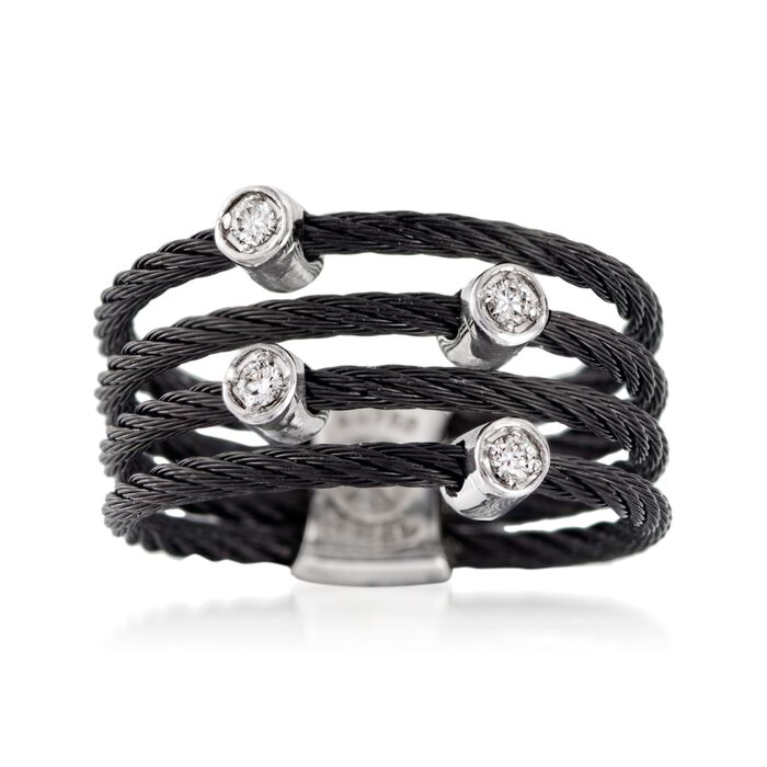 """ALOR """"Noir"""" Black Stainless Steel Cable Ring with Diamond Stations and 18kt White Gold. Size 7, , default"""