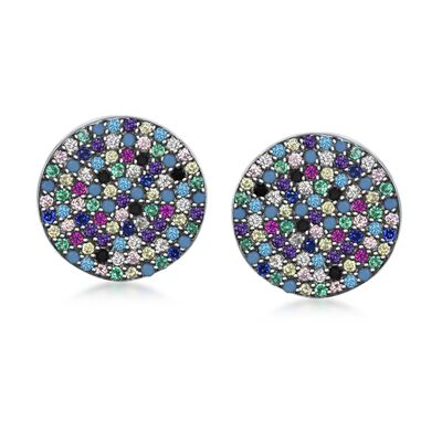 Pave Multicolored CZ Circle Earrings in Sterling Silver, , default