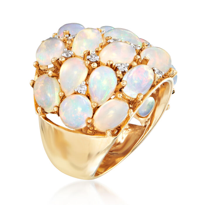 Opal and .25 ct. t.w. Diamond Cluster Dome Ring in 14kt Yellow Gold