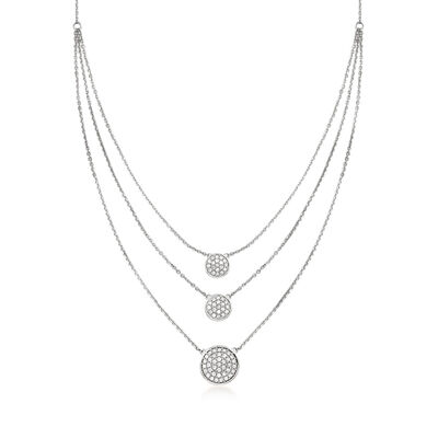 .50 ct. t.w. Pave Diamond Triple-Strand Necklace in Sterling Silver