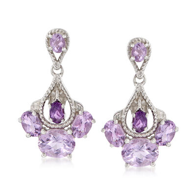 4.90 ct. t.w. Amethyst Drop Earrings in Sterling Silver, , default