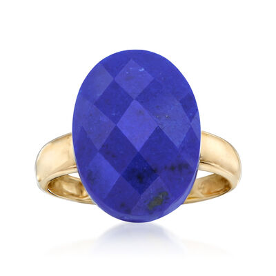 Oval Lapis Ring in 14kt Yellow Gold, , default