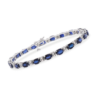 12.50 ct. t.w. Sapphire and .45 ct. t.w. Diamond Line Bracelet in 14kt White Gold, , default