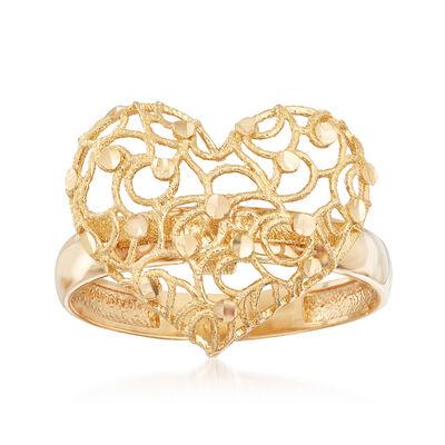 Italian 18kt Yellow Gold Filigree Heart Ring, , default