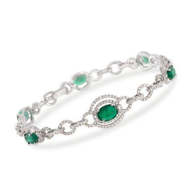 4.70 ct. t.w. Emerald and 2.70 ct. t.w. Diamond Bracelet in 18kt White Gold, , default