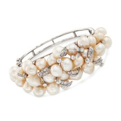 "C. 1950 Vintage 9.5x9mm Cultured Pearl and 1.50 ct. t.w. Diamond Cluster Bangle Bracelet in 14kt White Gold. 6.5"", , default"