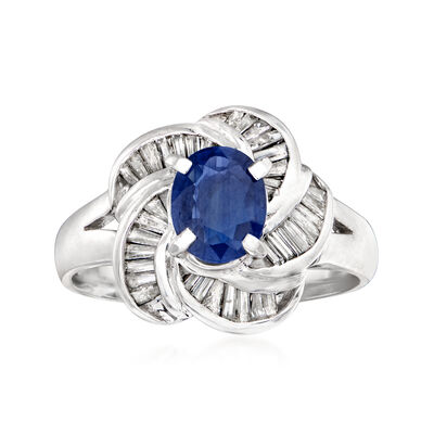 C. 1990 Vintage .82 Carat Sapphire and .45 ct. t.w. Diamond Ring in Platinum