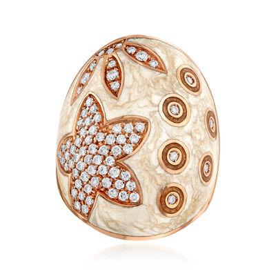 C. 1990 Vintage Nouvelle Bague .95 ct. t.w. Diamond and Enamel Ring in 18kt Rose Gold, , default