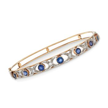 """C. 1900 Vintage 1.80 ct. t.w. Sapphire and .20 ct. t.w. Diamond XO Bangle Bracelet in 14kt Yellow Gold. 7"""", , default"""