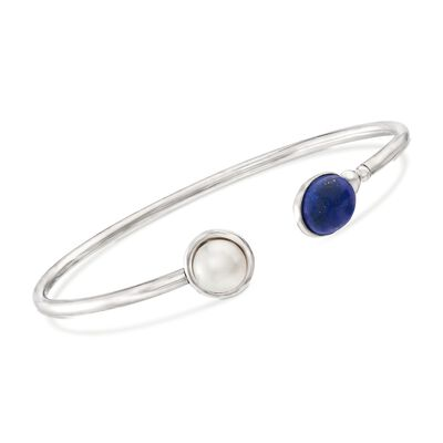 Lapis and 8-8.5mm Cultured Pearl Open-Front Cuff Bracelet in Sterling Silver, , default