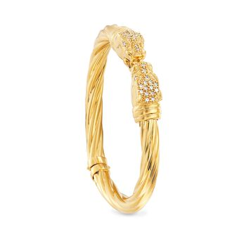 """Italian .50 ct. t.w. CZ Double Panther Head Cuff Bracelet in 18kt Gold Over Sterling. 7"""", , default"""