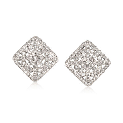 C. 1990 Vintage 2.50 ct. t.w. Diamond Square Clip-On Earrings in 14kt White Gold, , default