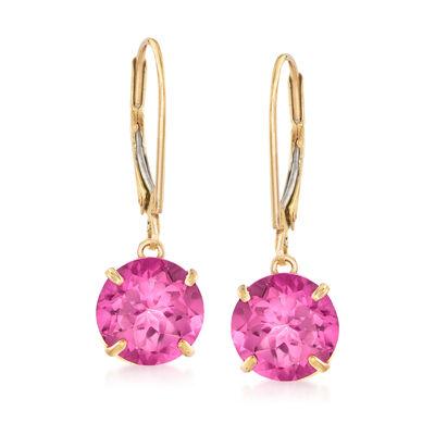 4.20 ct. t.w. Pink Topaz Drop Earrings in 14kt Yellow Gold
