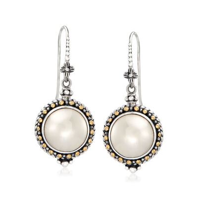 12mm Cultured Mabe Pearl Drop Bali-Style Earrings in Sterling Silver and 18kt Yellow Gold