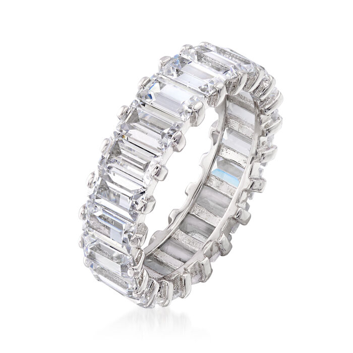 5.51 ct. t.w. Baguette CZ Eternity Band in Sterling Silver