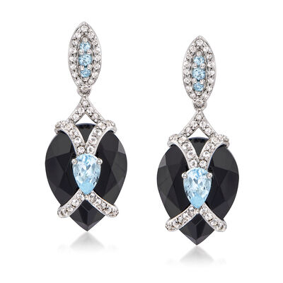 16x12mm Black Agate and 1.50 ct. t.w. Blue and White Topaz Drop Earrings in Sterling Silver, , default