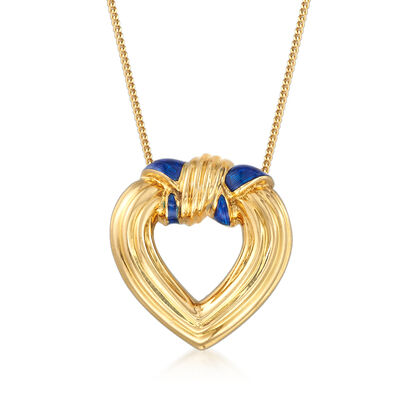 C. 1980 Vintage Tiffany Jewelry Blue Enamel Heart Pendant Necklace in 18kt Yellow Gold, , default
