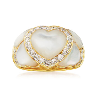 C. 1980 Vintage Mother-Of-Pearl and .35 ct. t.w. Diamond Heart Ring in 18kt Yellow Gold